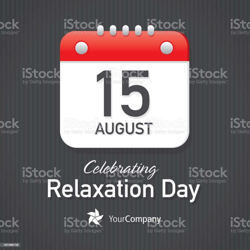 Celebrating Relaxation Day Calendar design layout template vector art illustration