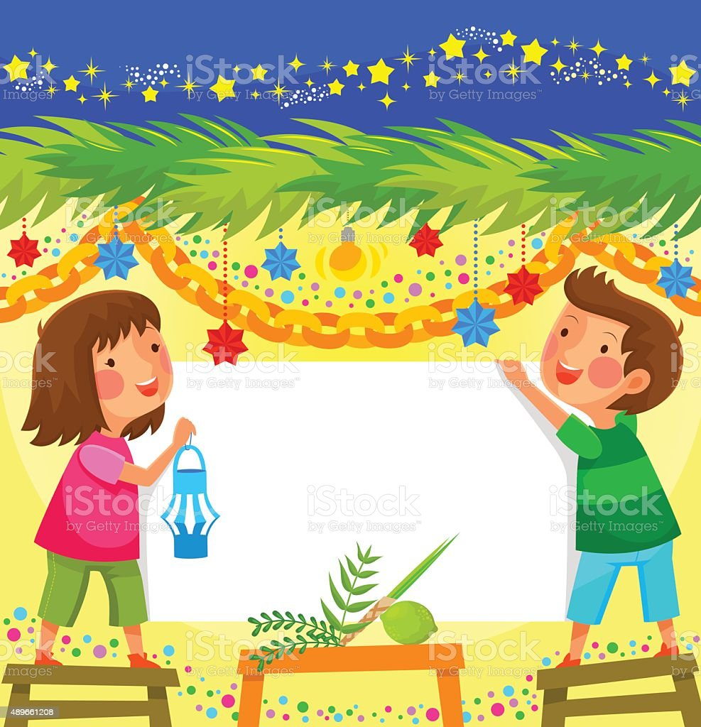 celebrating Sukkoth vector art illustration