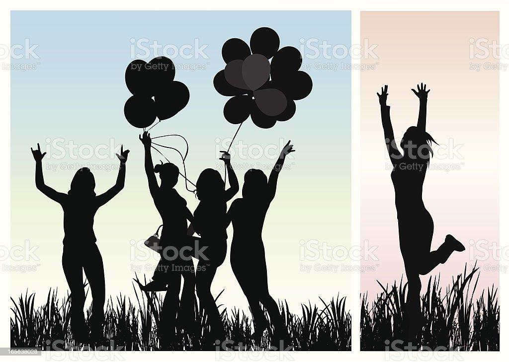 Celebrating Vector Silhouette royalty-free stock vector art