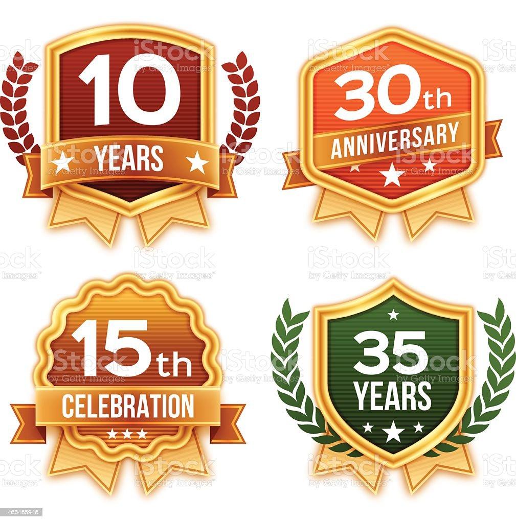 Celebration and Award Badges and Ribbons vector art illustration
