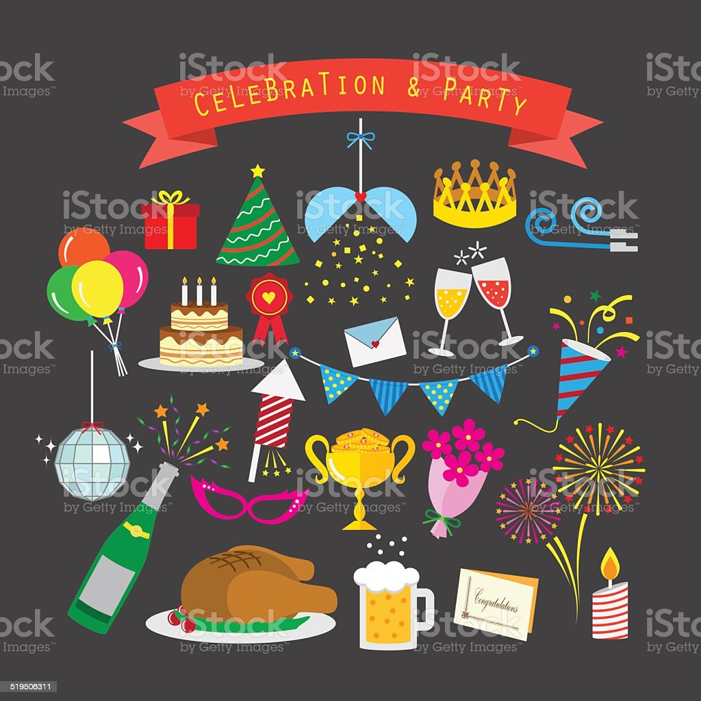 Celebration and party icon set vector art illustration