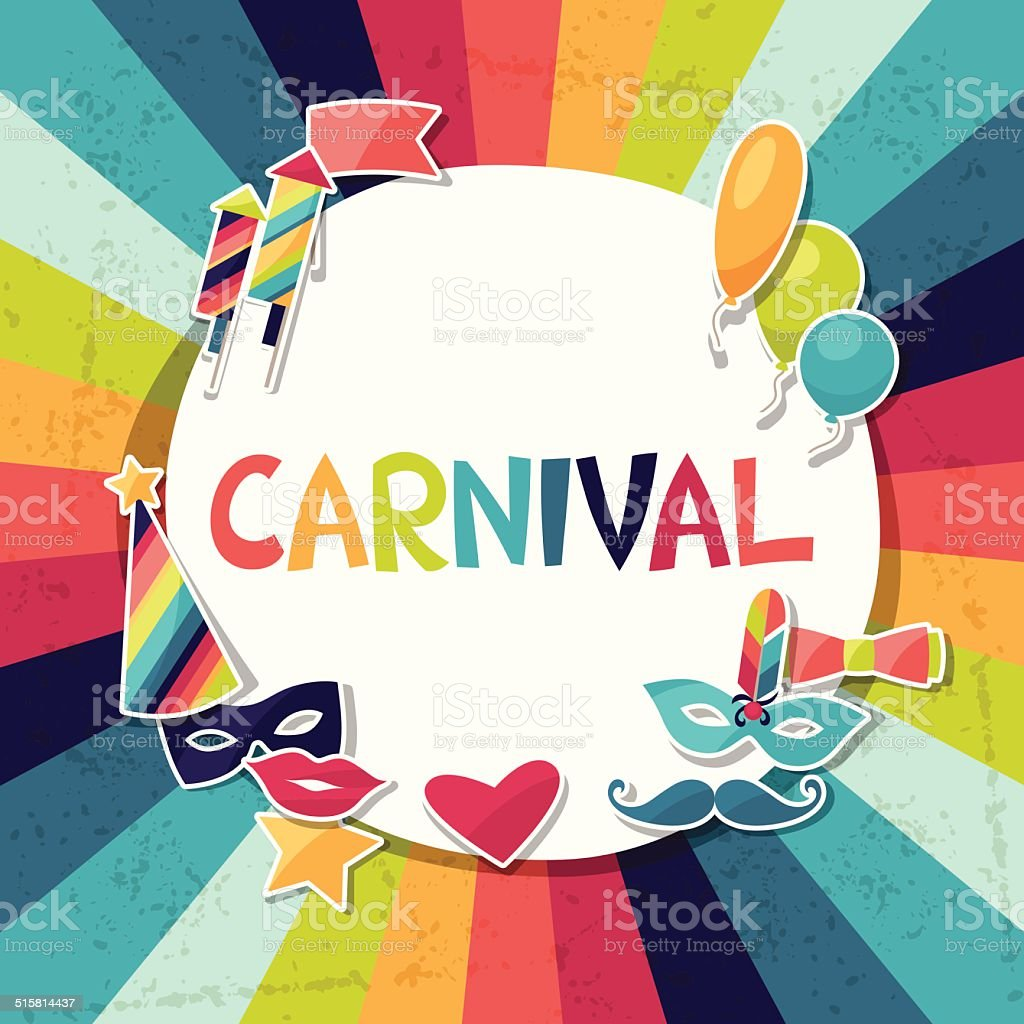 Celebration background with carnival stickers and objects. vector art illustration