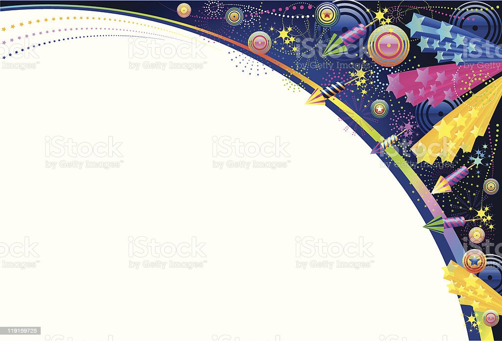 Celebration background with rockets stars and swirls  royalty-free stock vector art