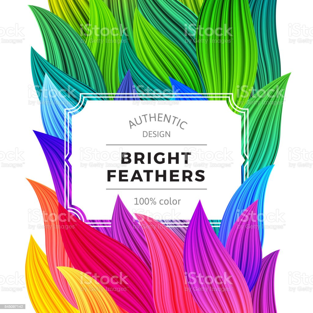 Celebration Background with Vibrant Colorful Feathers vector art illustration