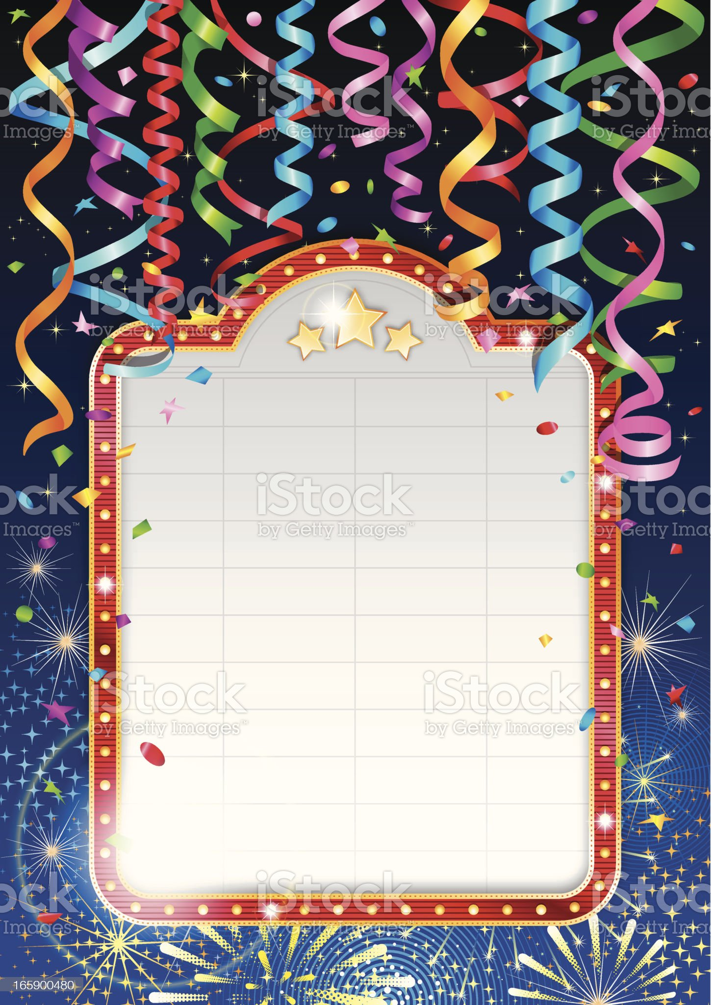 Celebration banner with streamers, confetti and fireworks royalty-free stock vector art