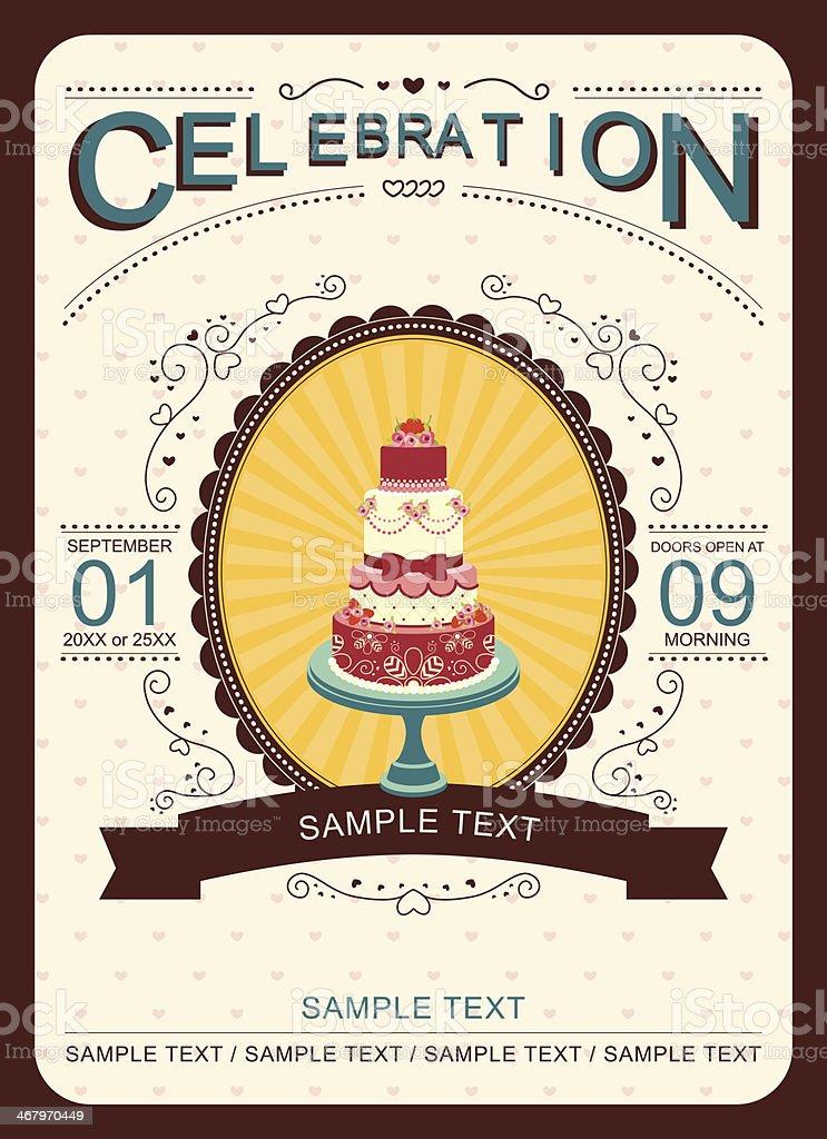 Celebration Cake Invitation Card vector art illustration