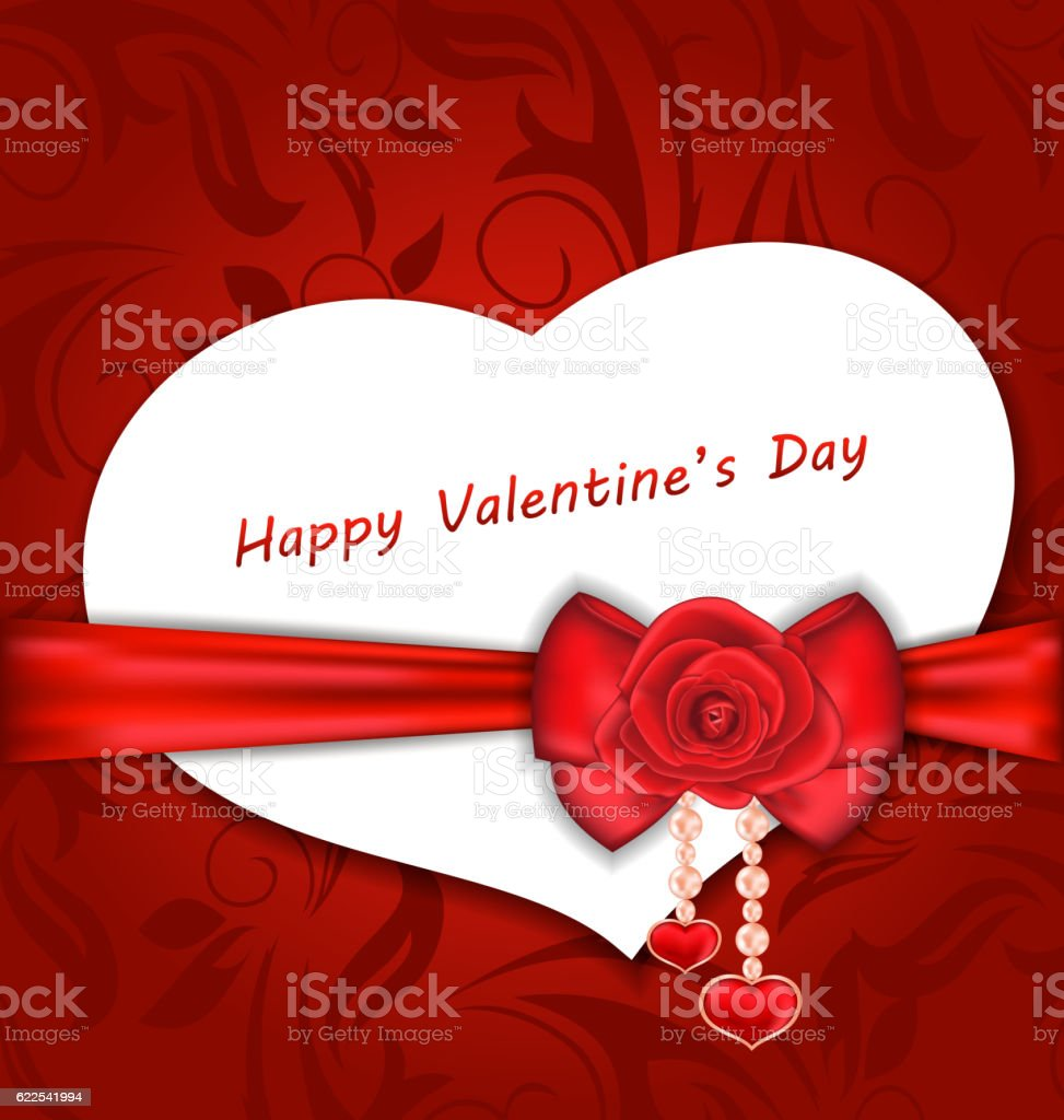 Celebration Card Heart Shaped with Silk Bow and Red Rose vector art illustration