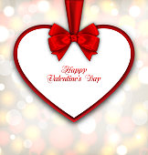 Celebration Card in form Heart with Ribbon Valentines Day