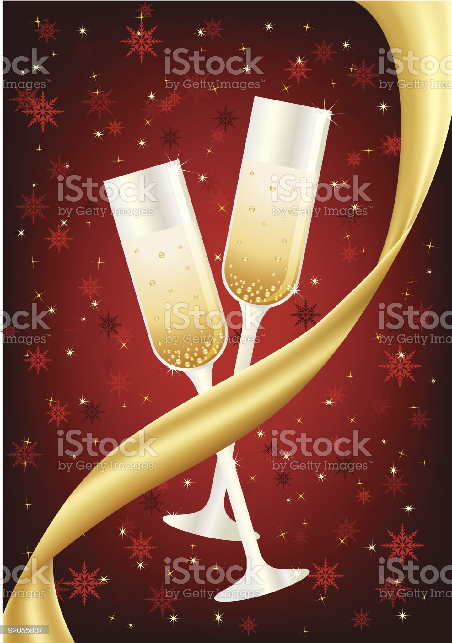 Celebration champagne glasses and ribbon royalty-free stock vector art