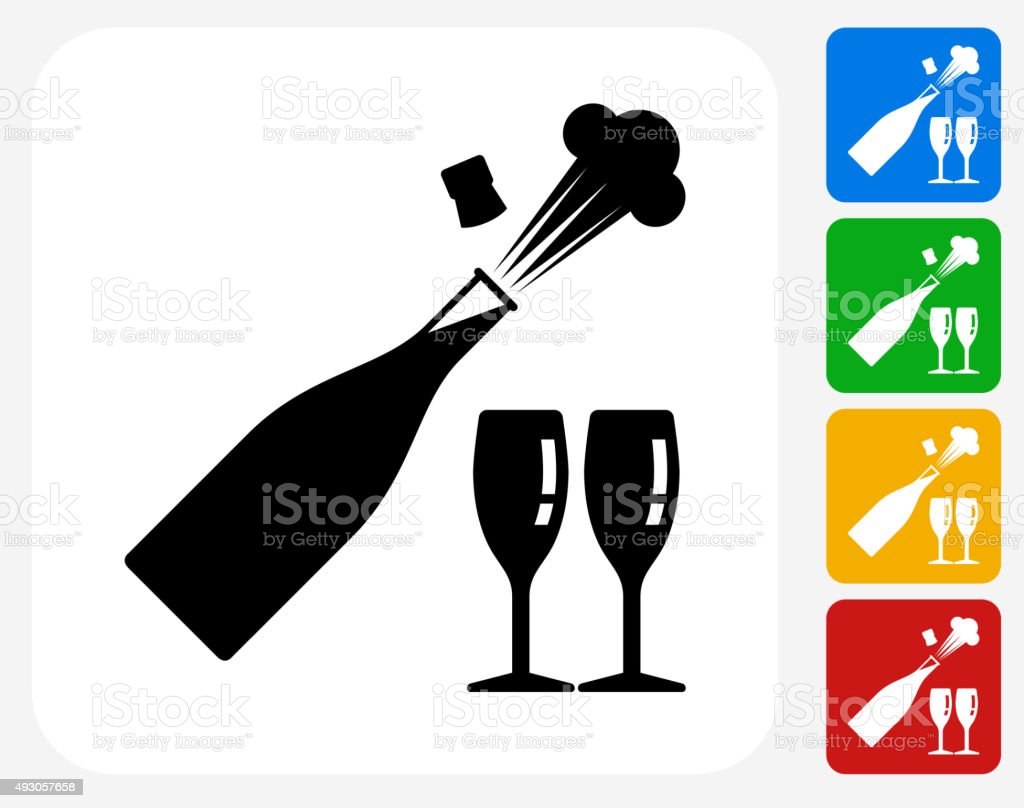 Celebration Drinks Icon Flat Graphic Design vector art illustration