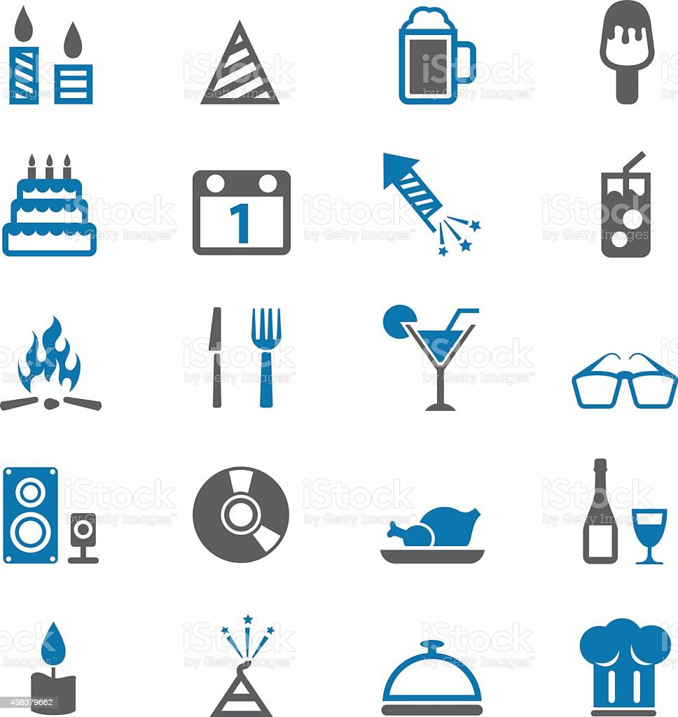 Celebration Icons and Party Icons vector art illustration
