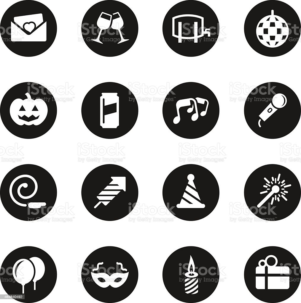 Celebration Icons - Black Circle Series vector art illustration