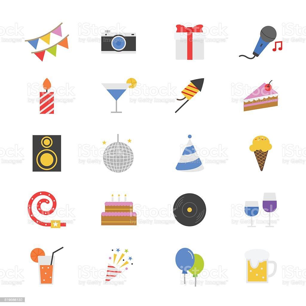 Celebration Party Flat Color Icons vector art illustration