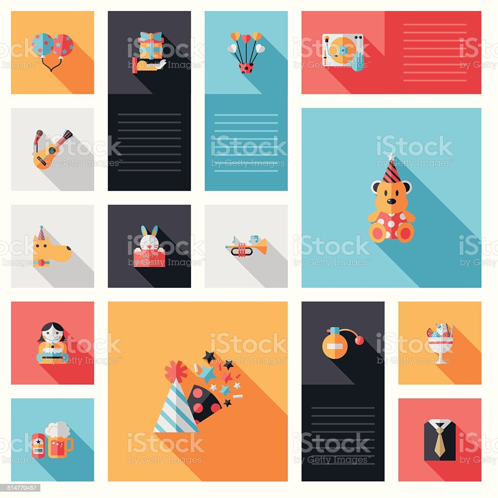 Celebration party flat ui with long shadow,eps10 vector art illustration