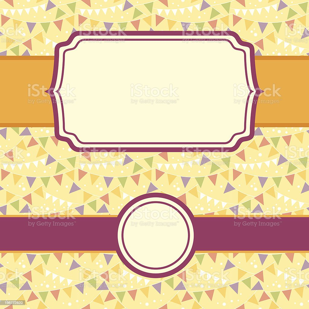 Celebration Pennant Flags Seamless Pattern And Frames Set royalty-free stock vector art