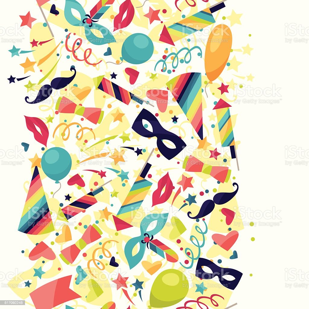Celebration seamless pattern with carnival icons and objects. vector art illustration
