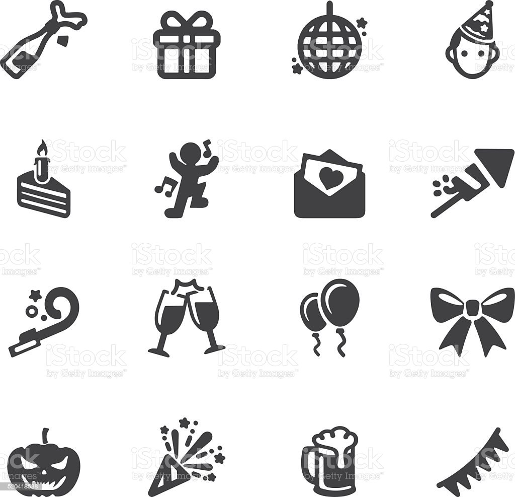 Celebration Silhouette icons | EPS10 vector art illustration