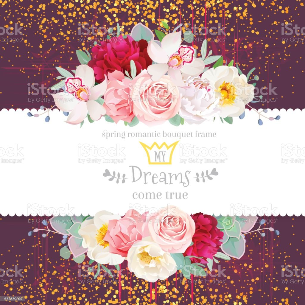 Celebration vector horizontal card with golden glitter dark back vector art illustration