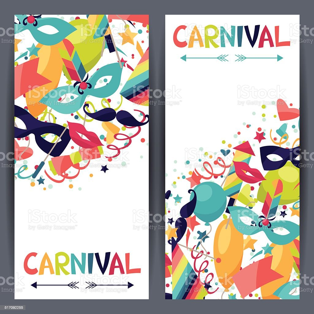 Celebration vertical banners with carnival icons and objects. vector art illustration