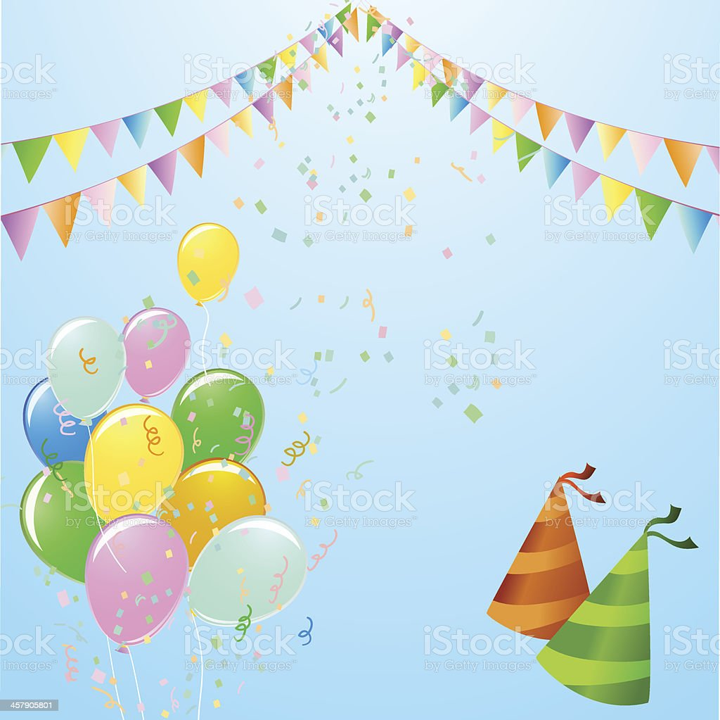Celebration with colourful balloons and flags royalty-free stock vector art