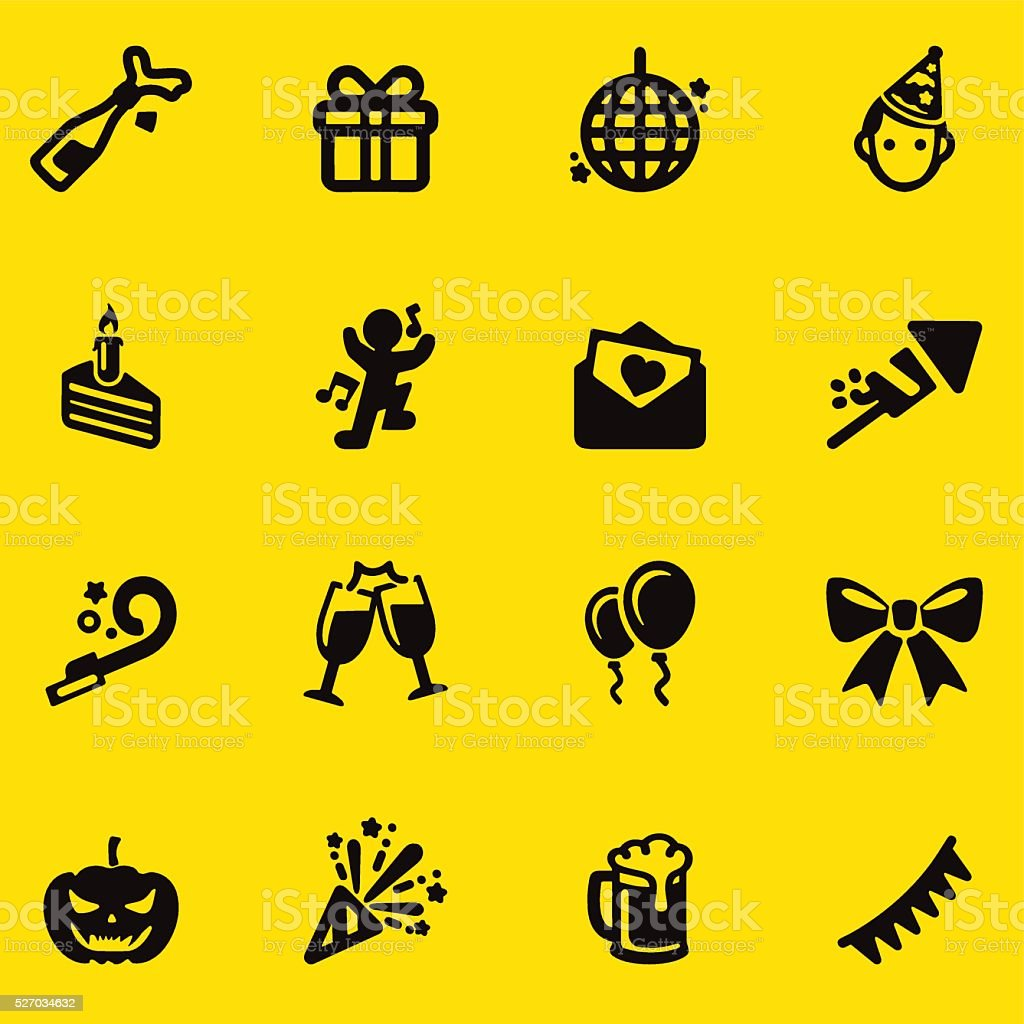 Celebration Yellow Silhouette icons | EPS10 vector art illustration