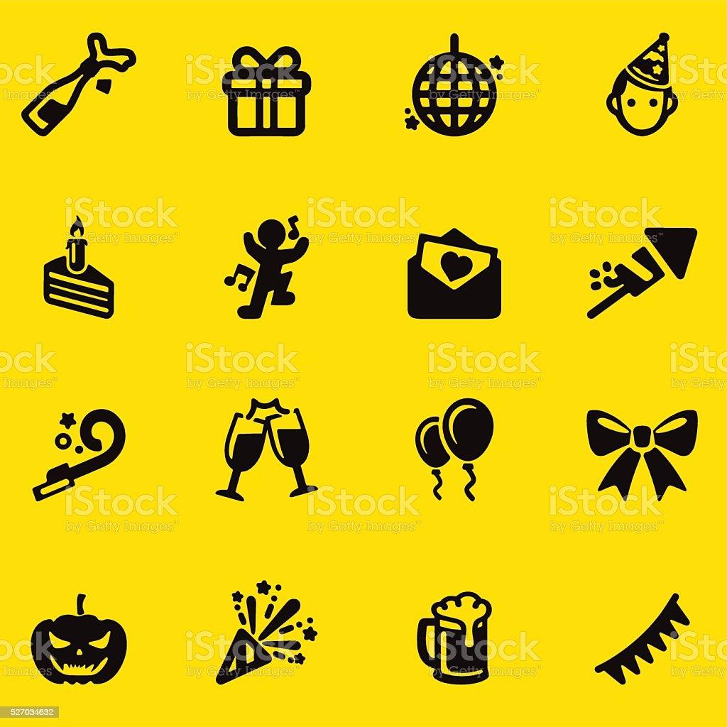Celebration Yellow Silhouette icons | EPS10 vector art illustration