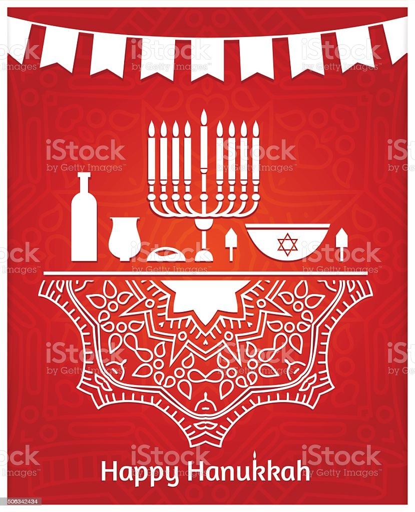 Celebratory bright background for Hanukkah. Tape with flags. Jewish holiday. vector art illustration