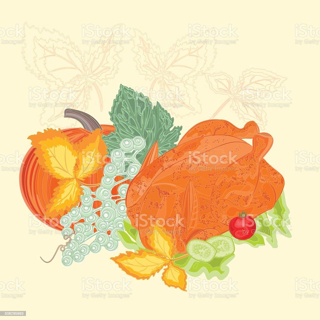 Celebratory food christmas thanksgiving vintage vector royalty-free stock vector art