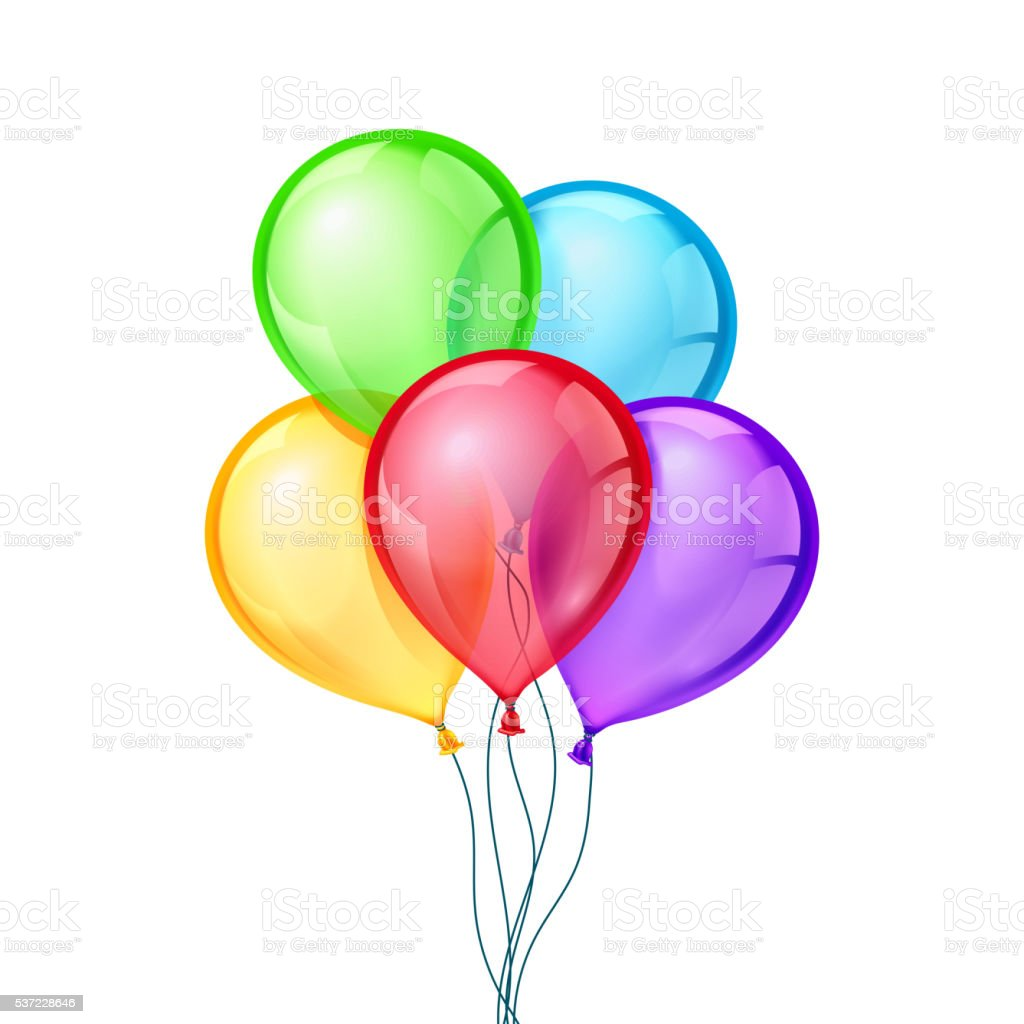 Celebratory vector balloons on isolated transparent background vector art illustration