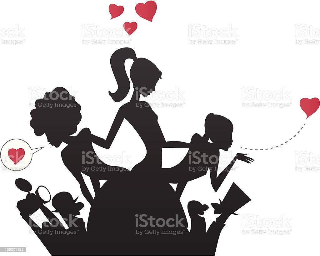 Celebrities Girls and Paparazzi Silhouettes vector art illustration