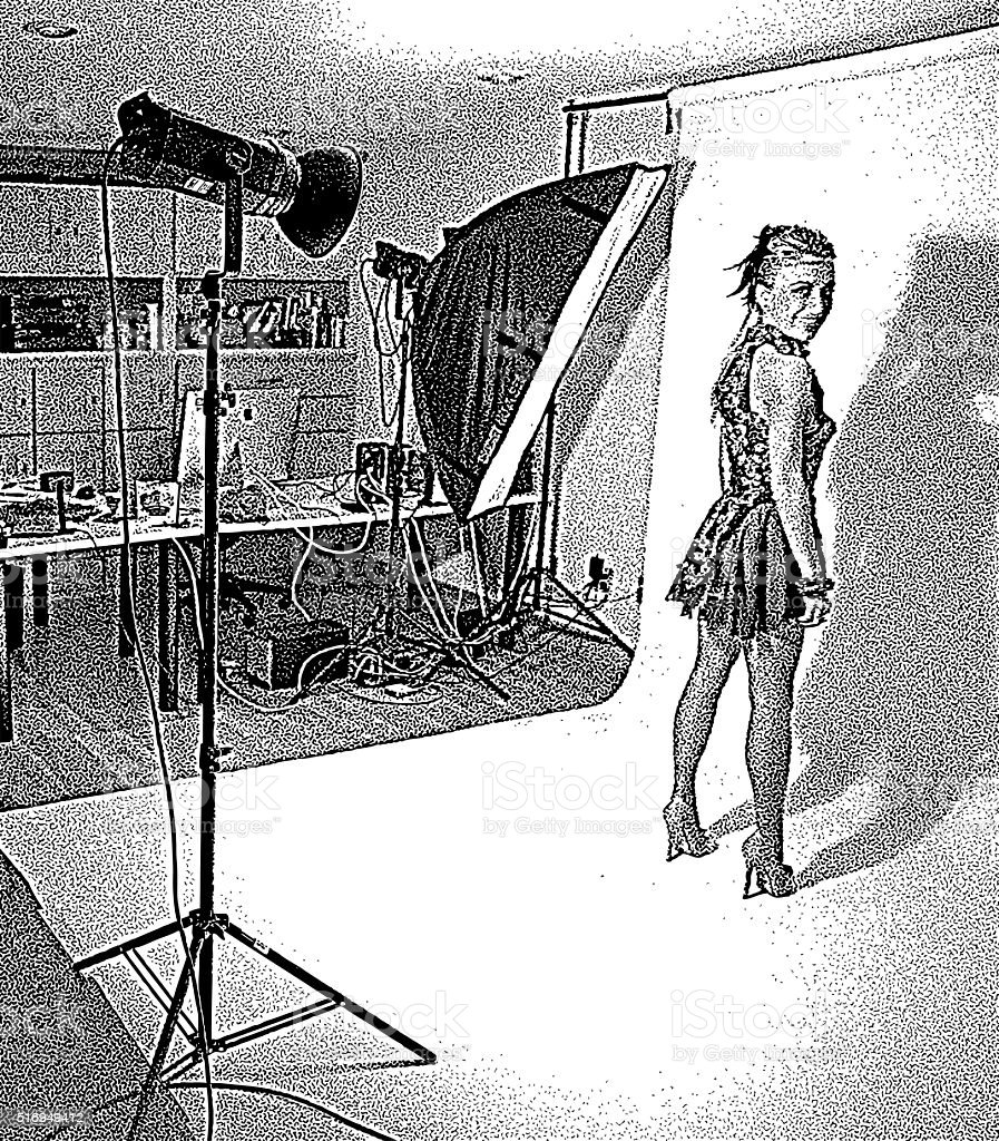 Celebrity posing for promotion photos in studio and lights vector art illustration