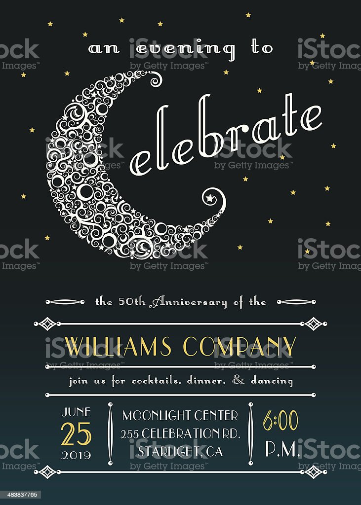 Celestial Celebration Party Invitation vector art illustration