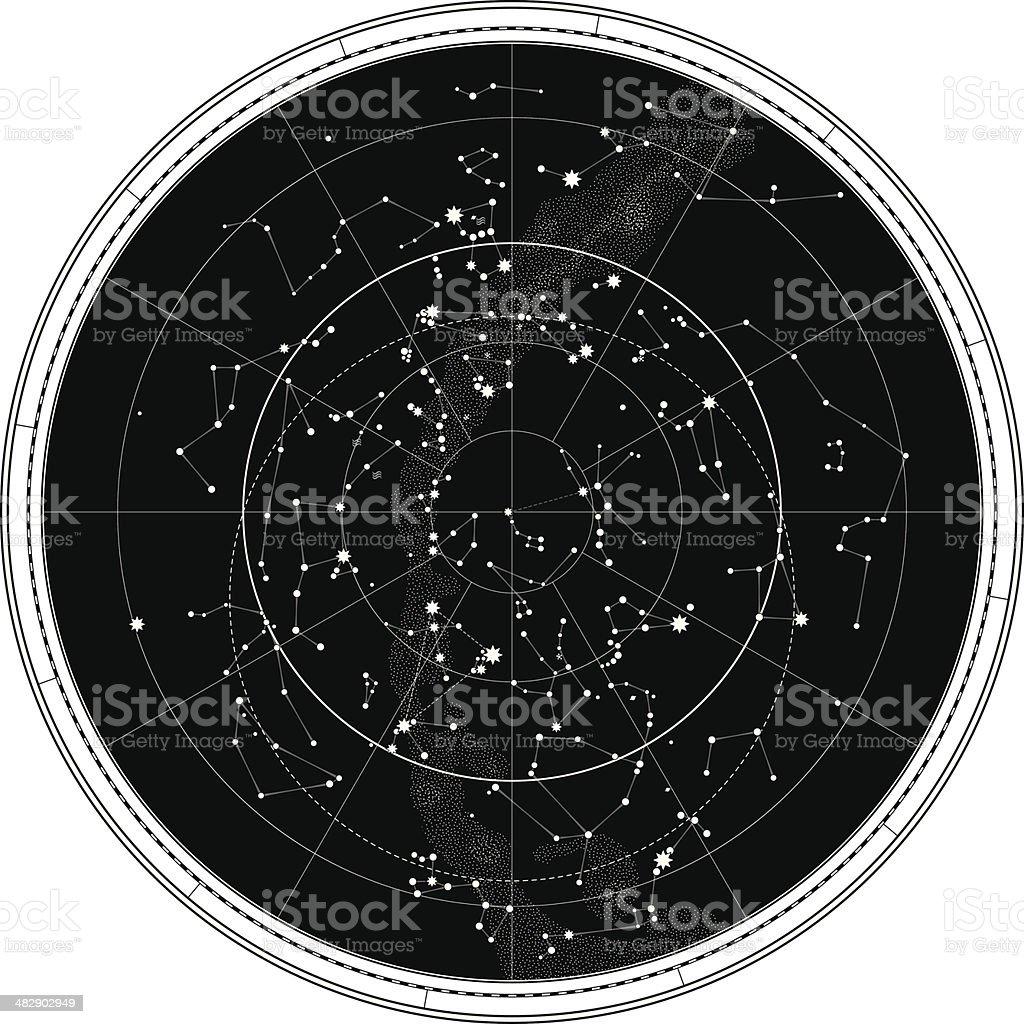 Celestial Map of The Night Sky vector art illustration