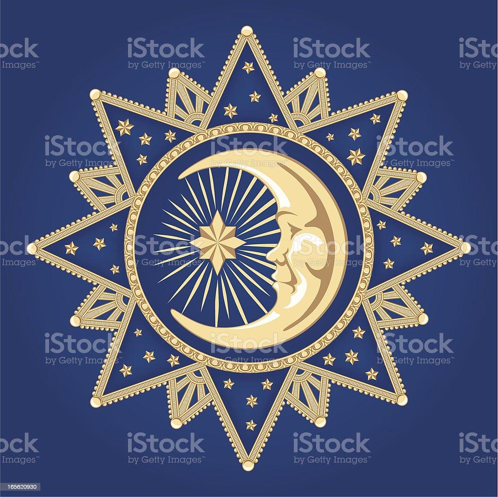 Celestial Moon Ornament vector art illustration