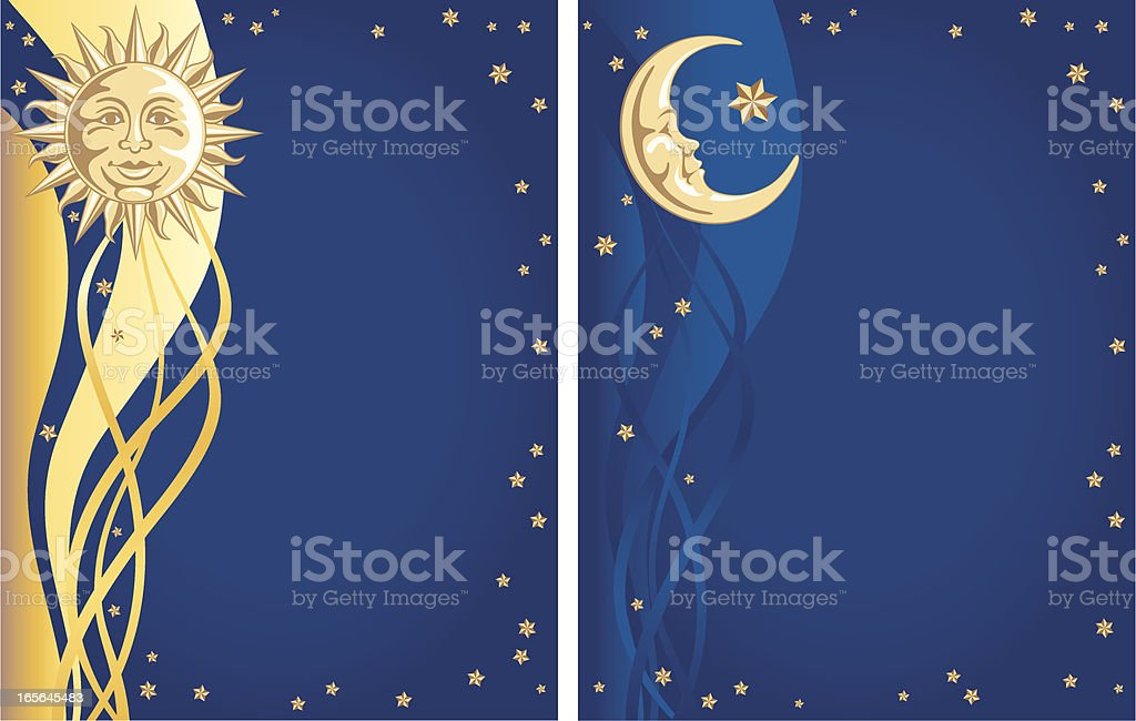 Celestial Sun, Moon and Stars Background vector art illustration