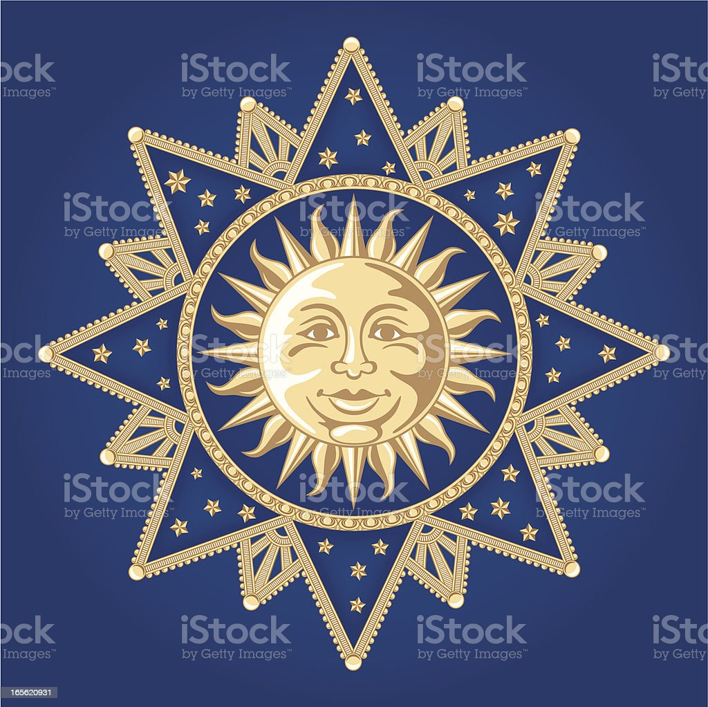 Celestial Sun Ornament vector art illustration