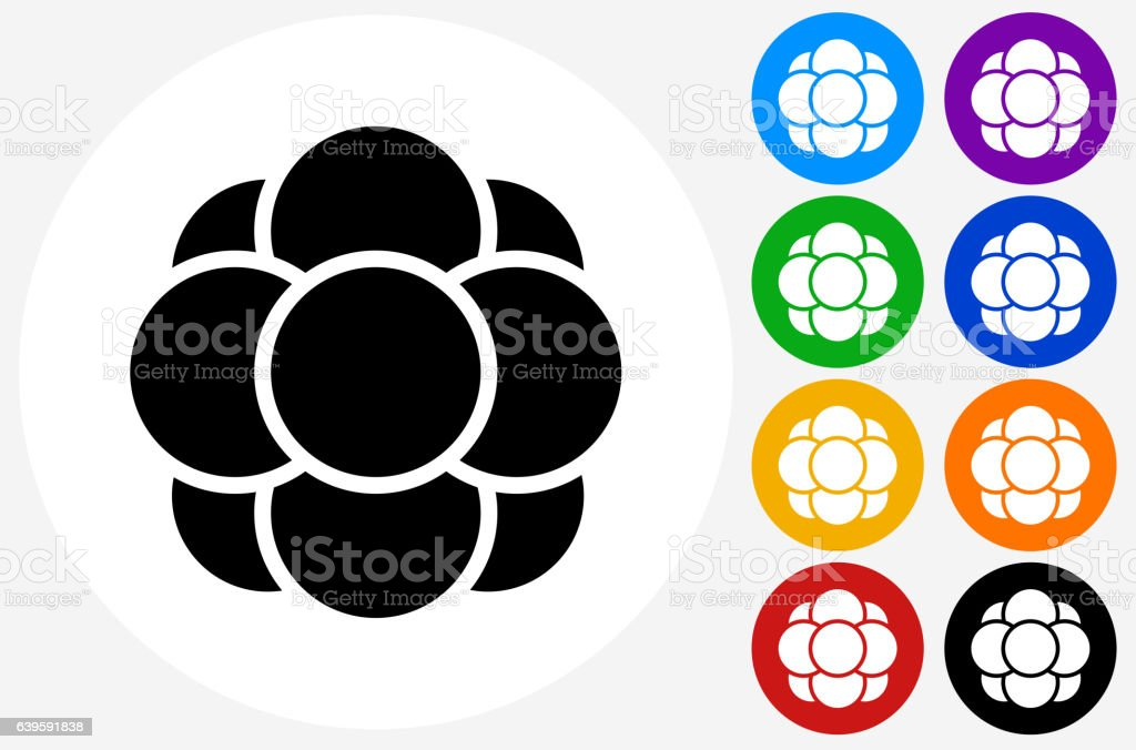 Cell Growth Icon on Flat Color Circle Buttons vector art illustration