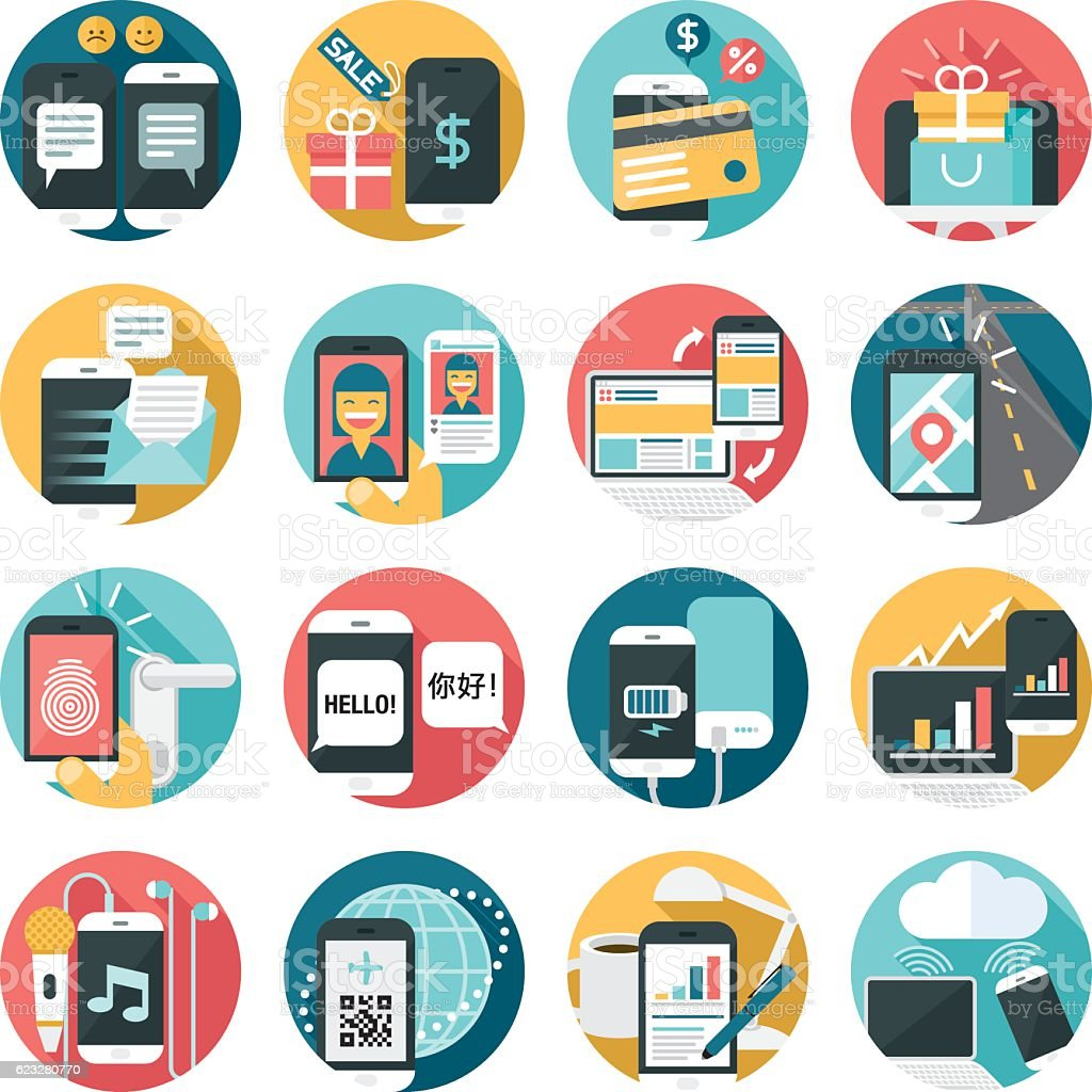 cell phone activities icon set vector art illustration