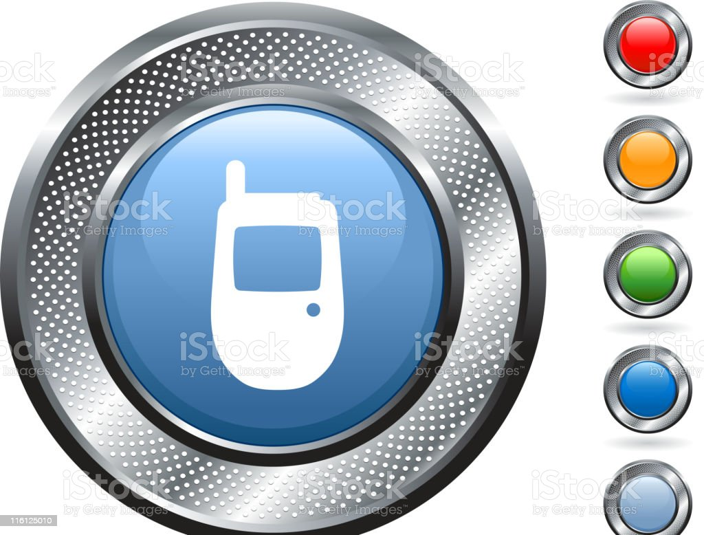 cell phone royalty free vector art on metallic button royalty-free stock vector art