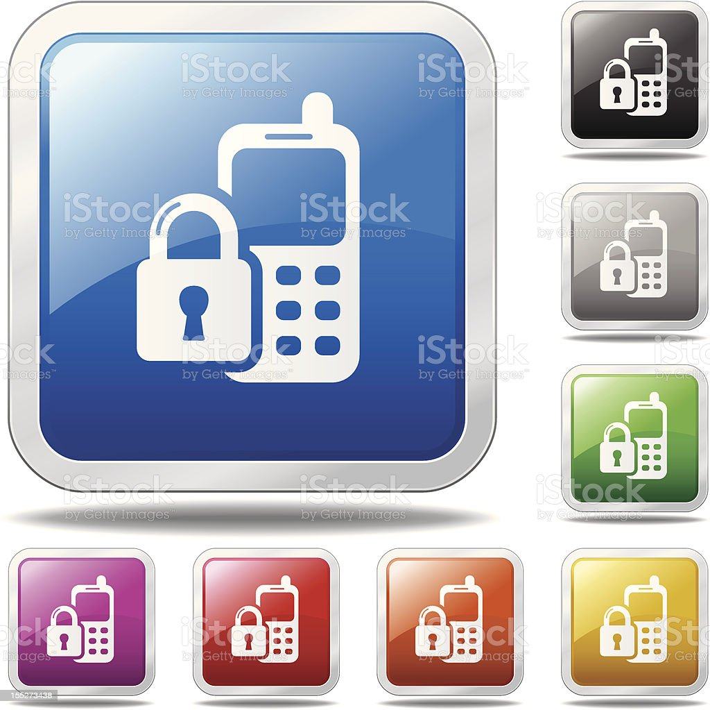 Cell Phone Security Icon royalty-free stock vector art