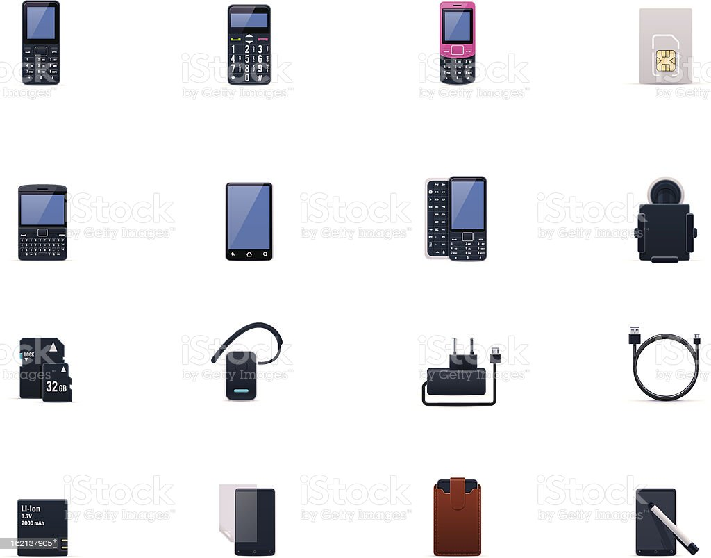 Cell phones and accessories icon set royalty-free stock vector art