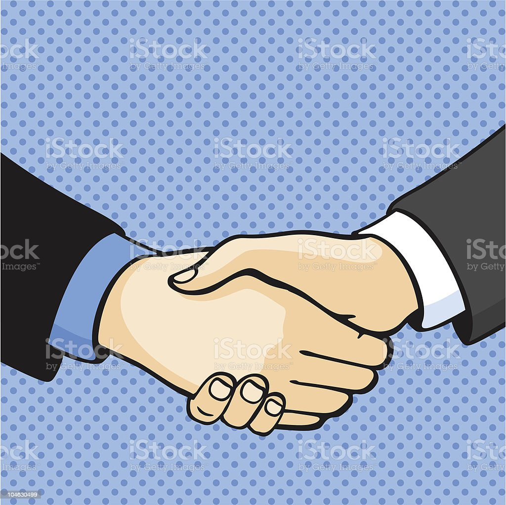 Cell shaded art of handshake on blue spotted background royalty-free stock vector art