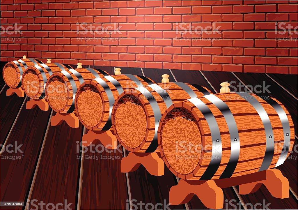 cellar with wine barrels vector art illustration