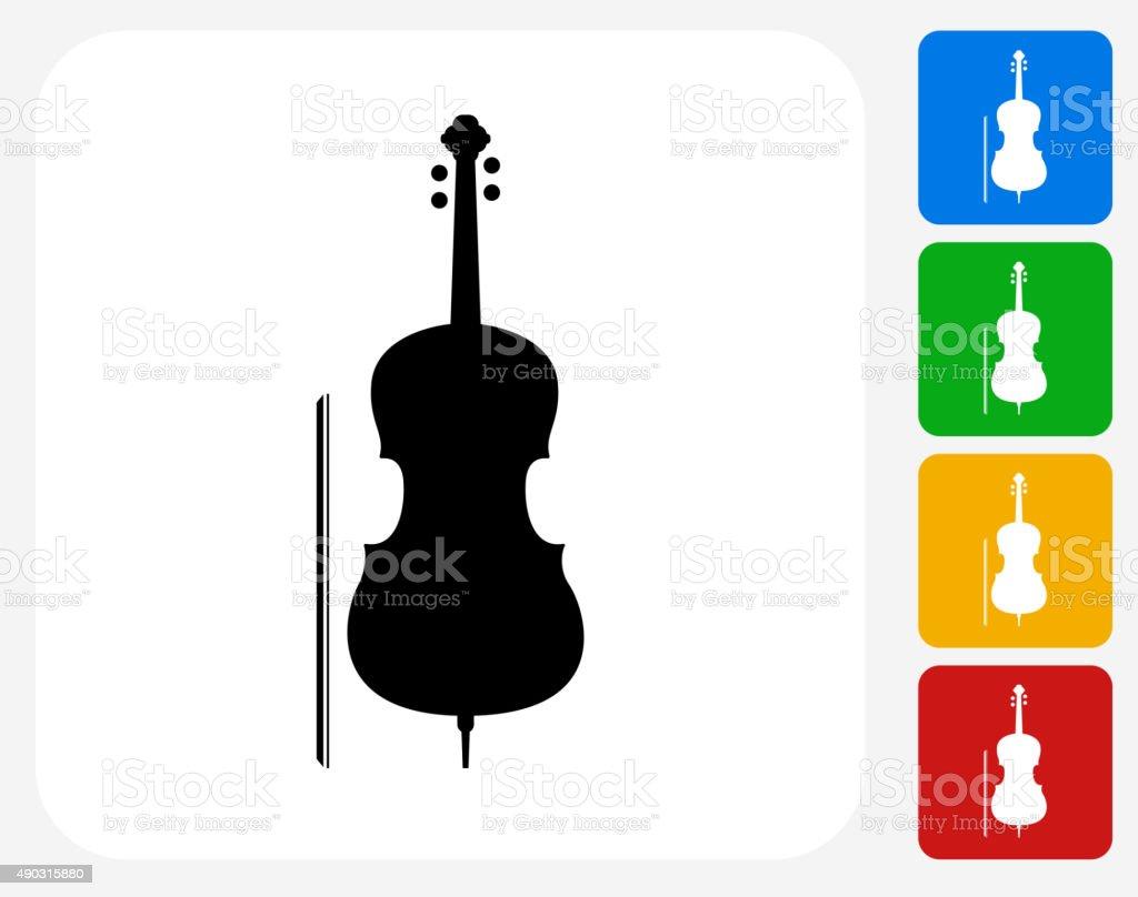 Cello Icon Flat Graphic Design vector art illustration