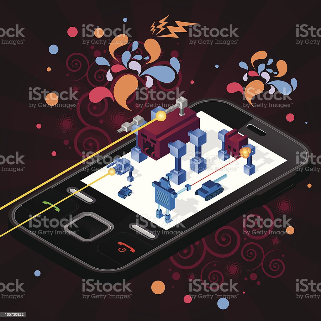 Cellphone war isometric royalty-free stock vector art
