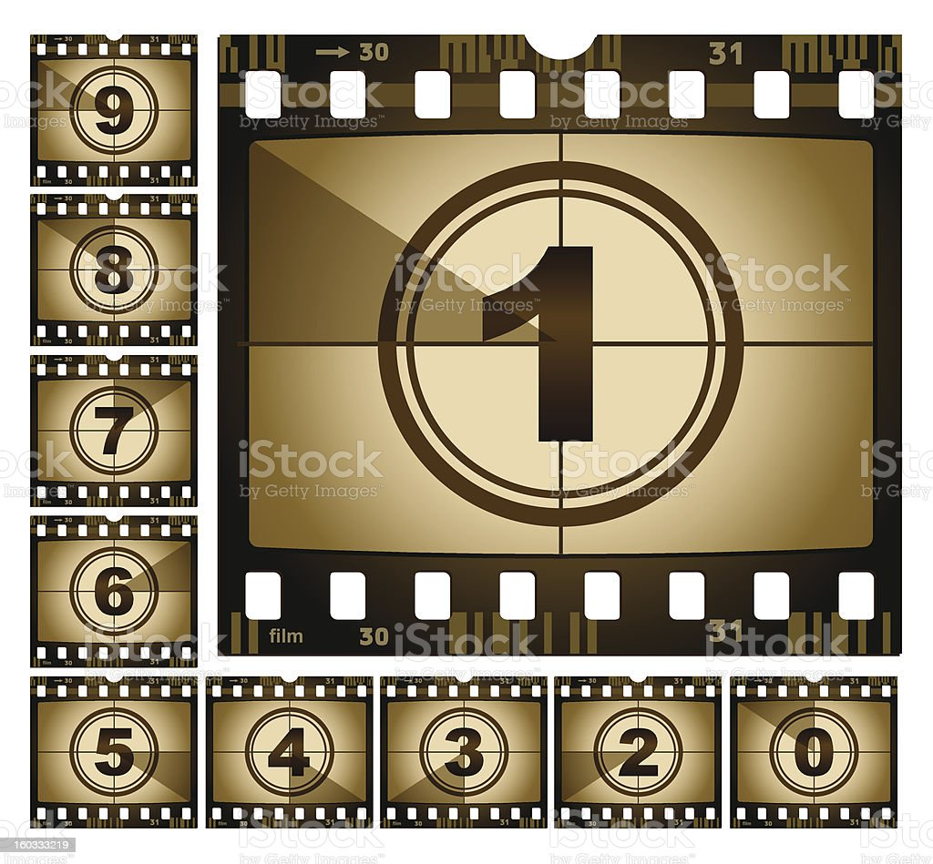 Celluloid film strips with a countdown from 9 to 0 royalty-free stock vector art