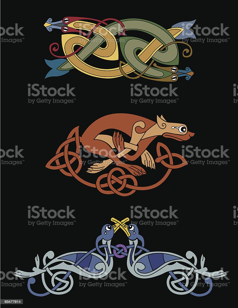 Celtic Beasts - Snakes, Lioness, Birds royalty-free stock vector art