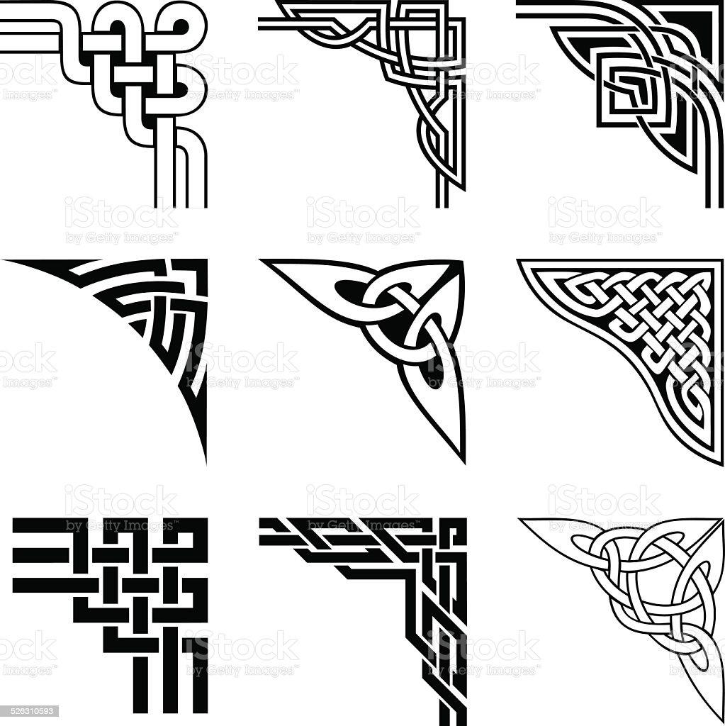 celtic corners set vector art illustration
