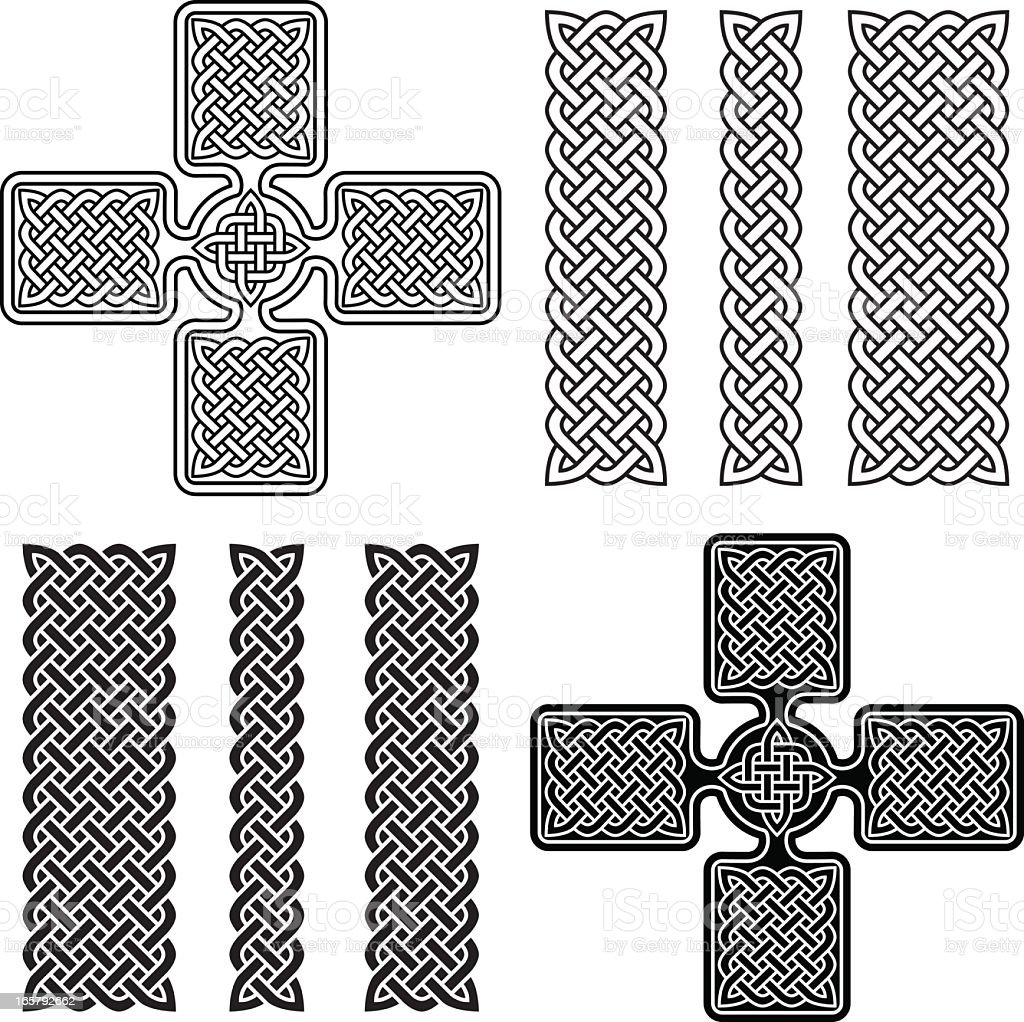 Celtic Cross and Knotwork Ornaments royalty-free stock vector art