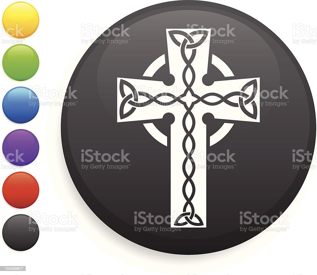 Celtic cross icon on round button royalty-free stock vector art